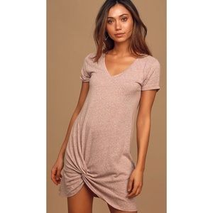 The Triblend Heather Mauve Twist-Front Shirt Dress